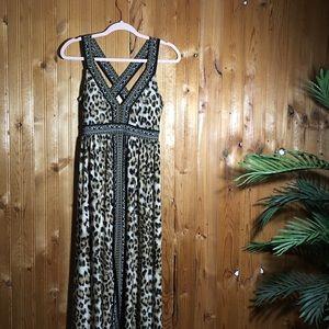 Leopard Maxi dress S criss criss INC